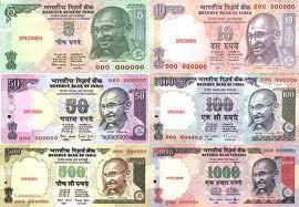Übersicht Banknoten Indische Rupien