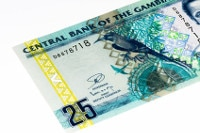 Übersicht Münzen und Banknoten von Gambias Währung Dalasi