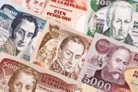 Übersicht Münzen und Banknoten der Kolumbianischen Währung Peso