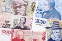 Übersicht Banknoten Island Währung Krone