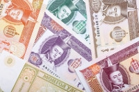 Übersicht Banknoten Mongolei Währung Tugrik