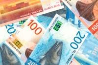 Übersicht Münzen und Banknoten von Norwegens Währung Krone