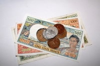 Übersicht Banknoten und Münzen Bora Bora Pazifischer Franc