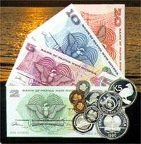 Übersicht Banknoten und Münzen Papua Neuguinea Währung Kina