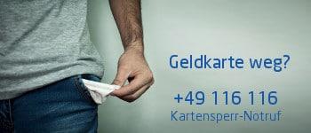 Was tun wenn die Kreditkarte weg ist - Kartensperr-Notruf kontaktieren