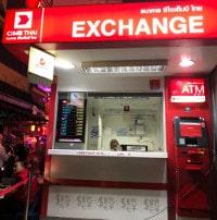 Wechselstube in Thailand zum Eintausch von Währungen in Thai Baht