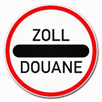 Zeichen vor der Zollkontrolle / Douane